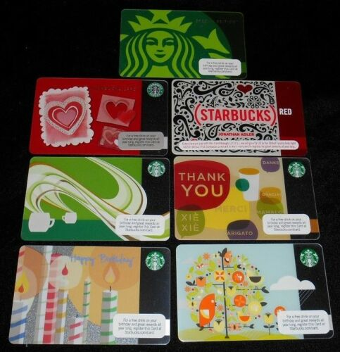 7 Collectible Gift Card Starbucks Coffee Food Valentines Lot Diff No Value
