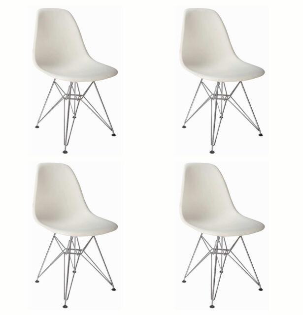 Modern Esszimmer Weiß Chrom Beine Retro Wohnzimmer Stühle