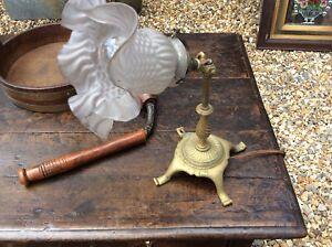Antique-C1910-Edwardian-Cast-Brass-Pullman-Table-Lamp-railway-Carriage-Lamp