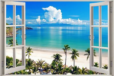 Huge 3D Balcony Exotic Ocean Beach Wall Stickers Decal Wallpaper S85