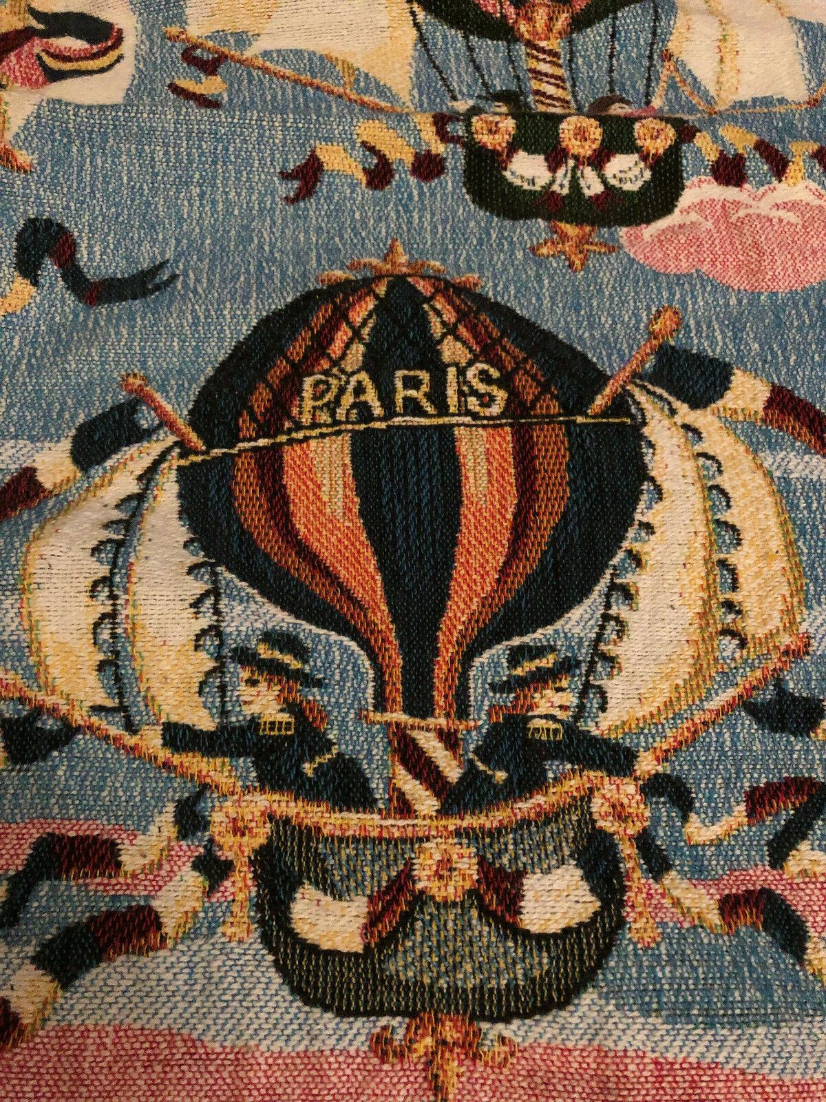 Vintage Goodwin Weavers Tapiz Manta Hot Air Balloon PARIS flecos