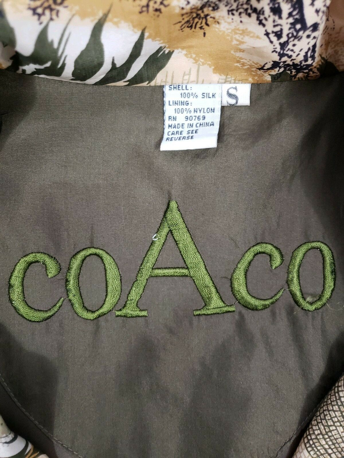 Coaco 100% Silk Small Jacket Multi Color Full Zip… - image 6