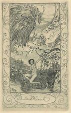 Amadeus DIER Paradiesvogel Akt Erotisches Exlibris Nude Etching Jugendstil 1916