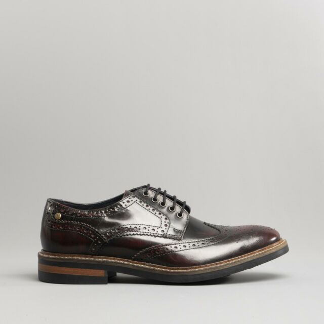 watch b6790 41d23 Base London WOBURN Mens Leather Brogue Lace-Up Formal Smart Office HiShine  Shoes