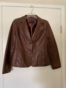 Bernardo-Womens-Genuine-Soft-lamb-Leather-Jacket-Size-Large-Brown