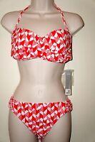 Jcpenney Swim Coral/white Print Bandeau Top Med & Bikini Bottom Size Large