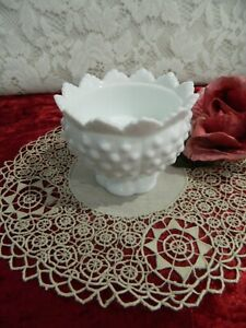 Vintage  Milk Glass CANDLE HOLDER  Hob Nail FRILLED  Edge Top  - EXC  Cond