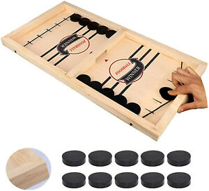 Fast Sling Puck Game Wooden Board Table Hockey Game Party Children Toys US