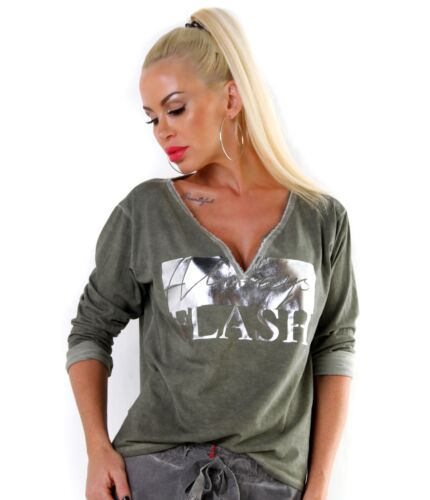 Cooles Used Look-Shirt mit V-Neck und Metallic-Print