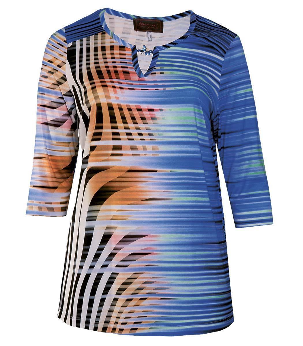 Sempre Piu ❤ 3 4 Arm Shirt Damen Blau Brosche V-Ausschnitt große Damen Größen