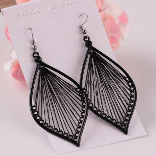 1 PAIR Women's Black Handcraft Thread Fangle Drop Hook Earrings Studs jewelry