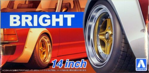"Aoshima 1//24 Rim /& Tire Set Bright 14/"" 5470 79"