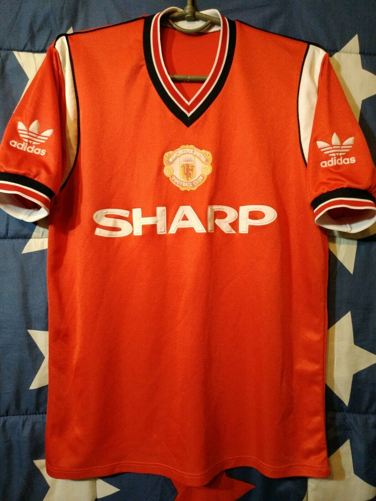 MANCHESTER UNITED 19841986 HOME FOOTBALL SHIRT JERSEY ADIDAS SHARP