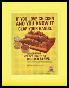 2003-Wendy-039-s-Chicken-Strips-Framed-11x14-ORIGINAL-Vintage-Advertisement
