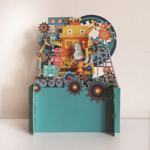 Children's Robots Working 3D Pop Up Birthday Greeting Card By Alljoy Cards