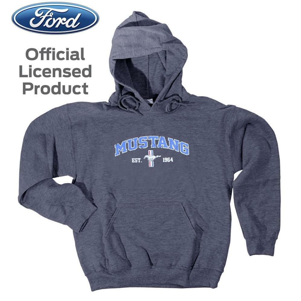 FORD MUSTANG Kapuzenpullover Hoodie Licensed Product USA grau Emblem Shirt Hemd