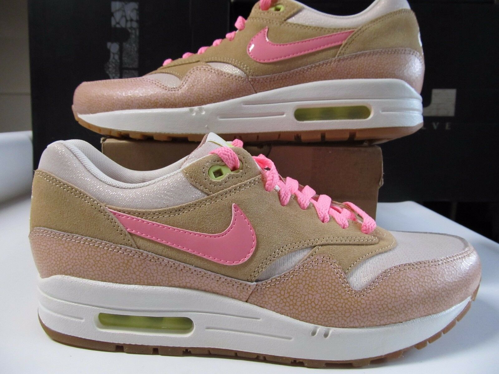 Womens Nike Air Max 1 PRM Premium Dusted Clay Prlzd Pink Vachetta Tan 454746 201