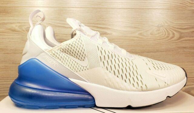 newest e8fca d7859 Nike Air Max 270 White Blue Metallic Silver Running Train AQ7982-100 Pick  Size