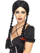 Damen Halloween Gothic Kostüm Schulmädchen Adams Perücke Schwarz Neu by Smiffys