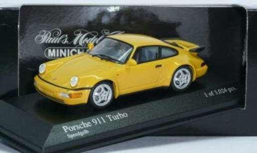 RARE MINICHAMPS PORSCHE 911 (964) TURBO VELOCITÀ amarillo 1 43 obsoleto Nuovo di zecca con scatola