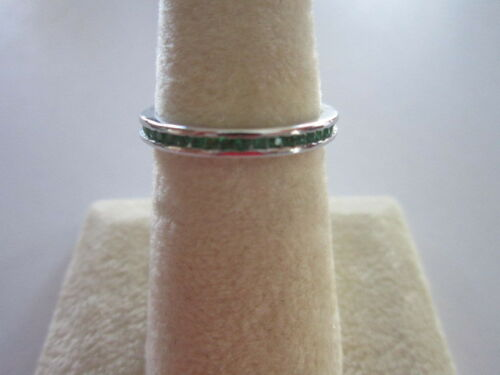 Sterling Silver Eternity Stackable Ring Semi Precious Emerald 2.3mm size 8 May