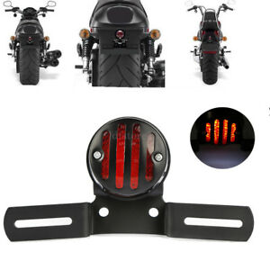 Paire-FEU-ARRIERE-Clignotants-Support-amp-Eclairage-Plaque-Moto-Custom-Cafe-Racer