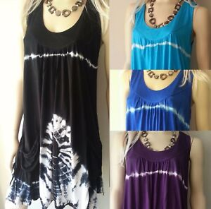 BALI-BOHO-SUMMER-BEACH-SUN-DRESS-DAY-CASUAL-TIE-DYE-PKT-SIZE-L-XL-XXL-14-16-18