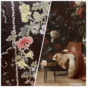 Designer-Brocade-Satin-Fabric-Brown-Floral-Damask-Upholstery