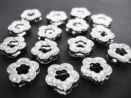 10 Daisy Flower Silver Plated AA Crystal Rhinestone Slider Charm//bead//craft K11