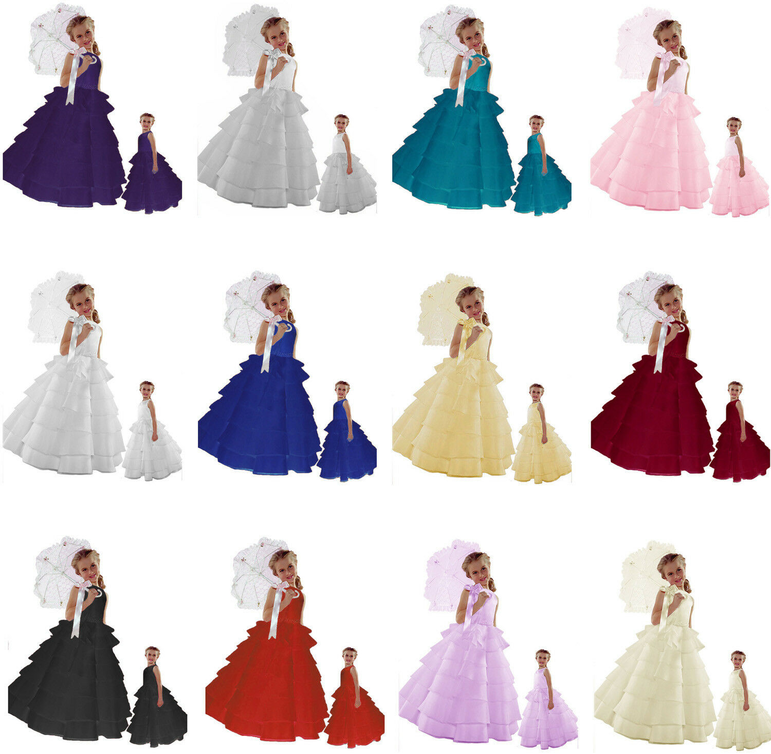 New Flower Girl Baby to Teen Wedding Holiday Pageant Layers Formal Dress