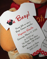 Set Of 10 - Minnie Mouse Baby Shower Invitations And Matching Favor Tags