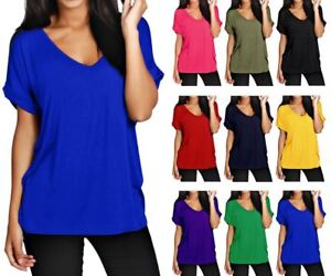 Women-Batwing-Sleeve-Oversized-Baggy-Loose-Fit-Turn-Up-Top-Ladies-V-Neck-T-Shirt