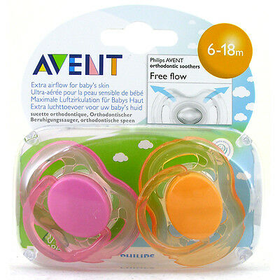 AVENT Freeflow Orthodontic Silicone Soothers BPA Free