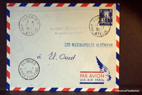 ALGÉRIE LETTRE I° VOL  ALGER EL OUED 1955   176ACAB9