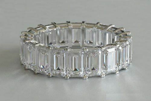 3.50Ct White Emerald Shaped Stone Wedding Band Ring In 925 Sterling Silver