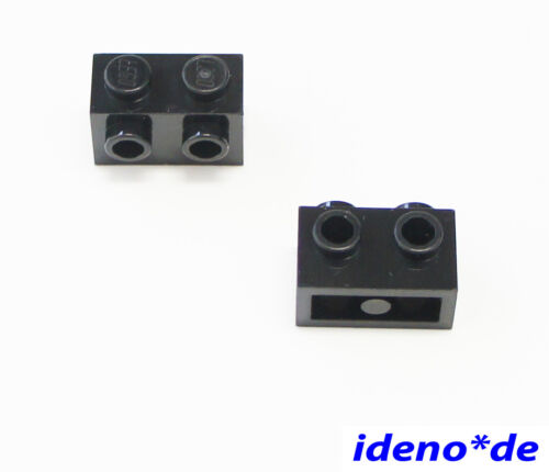 LEGO  2 Stk 1 x 2 Snot Konverter Stein 2 Noppen schwarz 11211 black 6138173 NEU