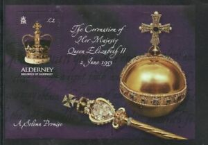 Alderney Sc 202 2003 50 th Anniversary Coronation QE II stamp sheet mint NH