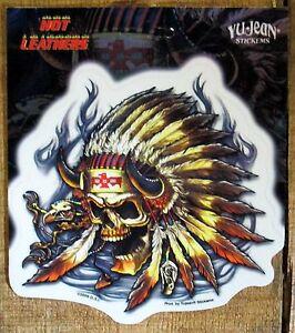 7d2fdf7010368 Hot Leathers Custom tank Biker art Skull Indian Sticker Window Decal ...
