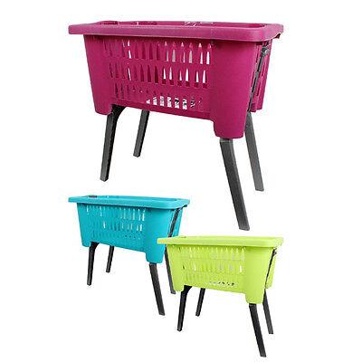 Laundry Basket With Folding Legs Wash Hamper Storage Washing Bin Plastic