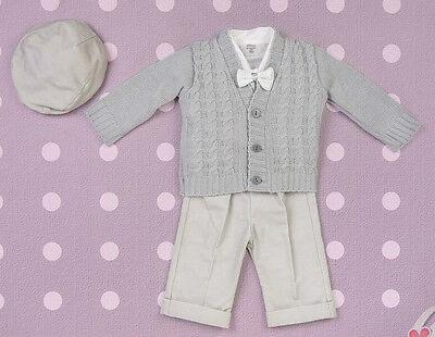 Baby Boy Battesimo Battesimo Formali Eleganti Suit Vestito Wedding Warm Grey 0-18m-