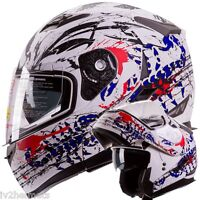Iv2 Scorpion White Modular Dual Visor Motorcycle / Snowmobile Flip Up Helmet Dot
