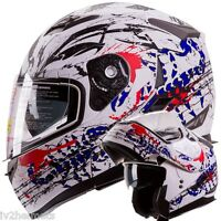 Iv2 Scorpion White Modular Dual Visor Motorcycle / Snowmobile Flip Up Helmet Dot