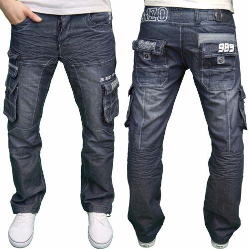 NUOVO CON ETICHETTA ENZO Da Uomo Di Marca Combat Cargo Salopette Blu Regular Fit Jeans