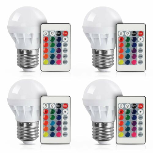 1 of 1 - 16 Color Changing 3W E27 RGB LED Light Bulb Globe Lamp+IR Remote Control 85-265V
