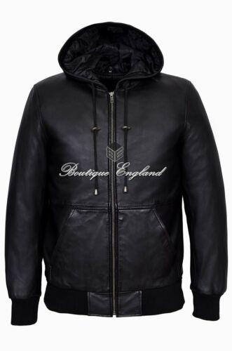 Men/'s Leather Hoody Black BASEBALL STYLE Slim Fit REAL SOFT LEATHER Jacket 4121