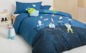 KAS-Kids-Alien-Space-Rocket-Double-Quilt-Duvet-Cover-amp-Plush-Cushion-Set