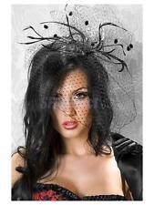 Feather Net Veil Mini Top Hat Fascinator Hair Clip Burlesque Hen Party Costume