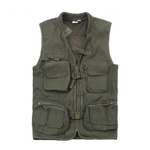 Mens outdoor multi pocket photography safari hunting for Mens fishing vest