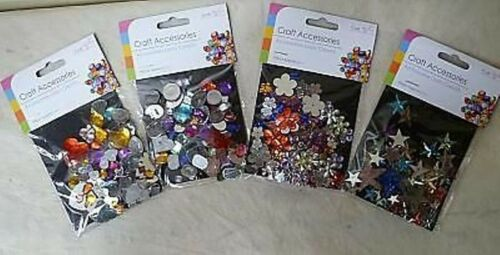 Pack of 90 Craft Gems Stars Hearts Butterflies Shapes Flowers