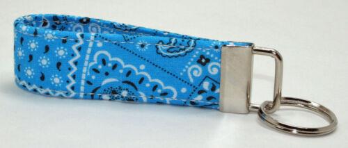 Bandanna Blue Key Chain Ring Fob Handmade Custom Designer
